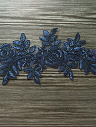 Liga Satén Elástico Encaje Flor Azul