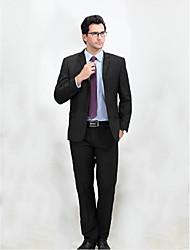 encoche de coupe standard 2017 costumes simple boutonnage en laine trois boutons& polyester mélangé solides 2 pièces droite noire à rabats