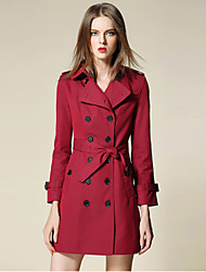 burdully mulheres que saem meio simples trincheira coatsolid colarinho da camisa de manga longa queda vermelho algodão / poliéster