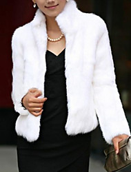 Women's Simple Fur Coat,Solid Long Sleeve Winter Faux Fur