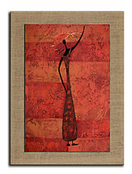 Oil Painting Modern Abstract People Red Hand Painted Natural Linen With Stretched Frame