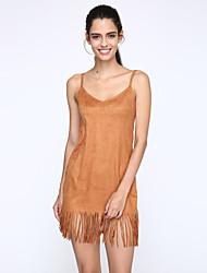 Robe Aux femmes Courte Street Chic,Couleur Pleine A Bretelles Au dessus du genou Polyester