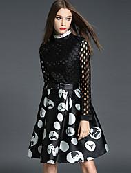 Mujer Vaina Vestido Noche Sofisticado,Estampado Escote Chino Hasta la Rodilla Manga Larga Negro Poliéster Otoño Tiro Medio Rígido Medio