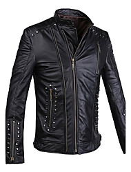 Humiture Men's Black Leather Jacket Biker Large Genuine Real Cowhide Motorcycle 9912
