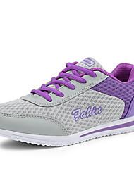 Damen-Sneaker-Büro Lässig Sportlich-Tüll-Flacher Absatz Plateau-Plateau Komfort-Blau Lila Weiß Grau