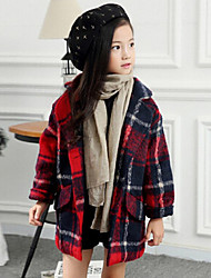 Girl's Casual/Daily Check Suit & BlazerWool Winter / Fall Green / Red