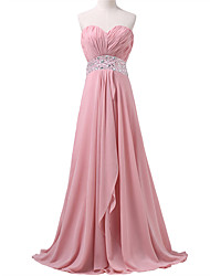 Formal Evening Dress A-line Sweetheart Sweep / Brush Train Chiffon with Beading