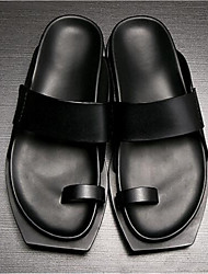 Men's Slippers & Flip-Flops Summer Slippers Leather Casual Flat Heel Others Black Others
