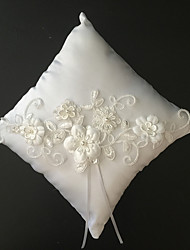 White 1 Ribbons Faux Pearl Embroidery Satin Lace