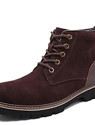 Herren-Stiefel-Lässig-Leder-Flacher Absatz-Modische Stiefel-Braun Grau