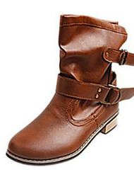 Women's Boots Winter Fashion Boots PU Casual Low Heel Buckle Black / Brown Others