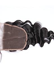 """10""""-18"""" Натуральный чёрный (#1В) Изготовлено вручную Свободные волны Человеческие волосы закрытие Умеренно-коричневый Французское кружево"""