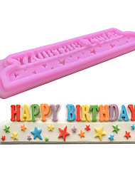 1PC Diy Happybirthday Baking Mold Cake Mold 3D Silicone Mould Cake Decorating Baking Tool  Random Color