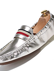 Men's Loafers & Slip-Ons Comfort Leather Casual Flat Heel Slip-on Black / White / Silver / Gold Others