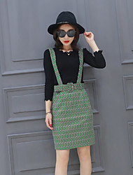 Boutique S Women's Going out Sophisticated Spring Set SkirtGeometric Round Neck Long Sleeve