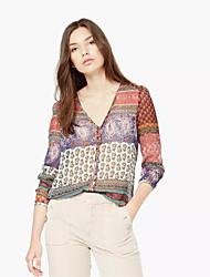 Women's Going out Vintage Spring BlousePrint V Neck Long Sleeve Red Cotton / Polyester Medium