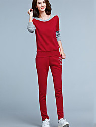 Women's Sports Active Fall Set PantLetter Round Neck Long Sleeve Red / Black Polyester Opaque