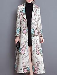 Trench Femme,Fleur Décontracté / Quotidien simple Manches Longues Col de Chemise Beige Polyester Moyen Hiver