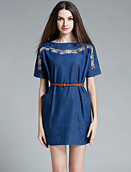 MISS FRENCH  Going out Chinoiserie Sheath DressSolid / Floral Round Neck Above Knee Short Sleeve Blue Cotton