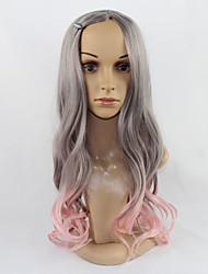 Grey Mixed Pink Color Body Wave Fashion Style Wigs for Europen and American Ladies