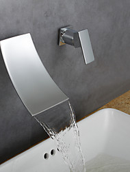 Centerset Waterfall / Widespread with  Ceramic Valve Single Handle One Hole for  Chrome  Bathroom Sink Faucet