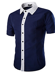 Men's Summer Stitching Color Casual Business Work Cotton Short Sleeve Lapel Shirt
