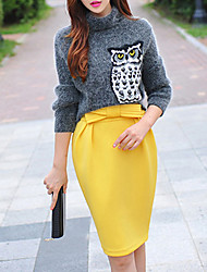 Women's Solid Yellow Pencil Skirts , Work High Rise Above Knee Skirts