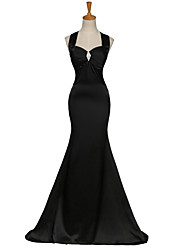 Formal Evening Dress Trumpet / Mermaid Straps Sweep / Brush Train Satin with Crystal Detailing / Criss Cross
