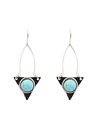 Fashion Women Marble Finish Natural Stone Set Triangle Drop Earrings