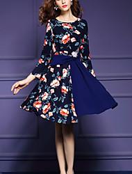 Women's Plus Size /Casual Street chic Slim Thin Fashion A Line Dress,Print /Patchwork Long Sleeve Blue Nylon Spring/Fall