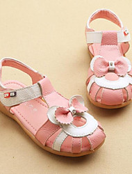 Girl's Sandals Spring Summer PU Outdoor Casual Flat Heel Bowknot Pink White Walking