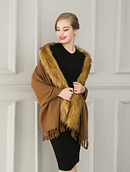 Women Leisure Cashmere / Faux Fur Solid Scarf Cloak Party / Work / Casual