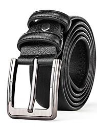 Mens Black Leather Waist Belt Straps Casual Pants Jeans Silver Waist Belt Buckle