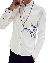 Men's Solid Casual / Work / Formal ShirtCotton / Polyester Long Sleeve Blue / Pink / White