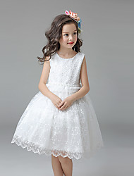 A-line Knee-length Flower Girl Dress - Satin / Tulle Sleeveless Jewel with Embroidery / Ruffles