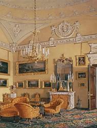 JAMMORY Art Deco Wallpaper Retro Wall Covering,Canvas Large Mural  Castle Interior