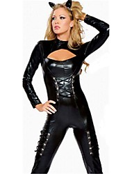 Black Faux Leather Catwoman Costumes Sexy Halloween Costumes for Women