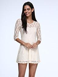 Women's Vintage Inelastic ½ Length Sleeve Above Knee Dress (Lace)