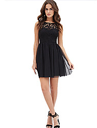 Women's Casual/Daily Simple A Line Dress,Solid Round Neck Above Knee Sleeveless Black Others Summer