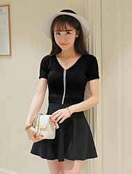 Women's Going out / Casual/Daily Vintage / Simple / Cute Short CardiganSolid Multi-color V Neck