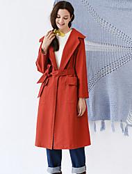 Damen Solide Einfach Ausgehen / Lässig/Alltäglich Trenchcoat,Herbst / Winter V-Ausschnitt Langarm Rot Dick Baumwolle / Elasthan