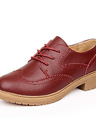 Women's Oxfords Summer Comfort Leatherette Outdoor Low Heel Lace-up Black Brown White Burgundy Others