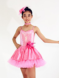 Ballet Dresses Women's / Children's Performance Spandex  / Cascading Ruffle / Paillettes / Flower(s) / Sequins3