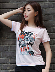 WOWTEE Women's Round Neck Short Sleeve T Shirt White / Pink-WT-TX012-2