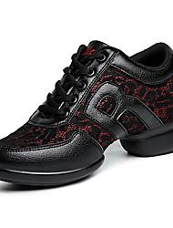 Non Customizable Women's Dance Shoes Leather Dance Sneakers / Modern Sneakers Flat Heel Professional