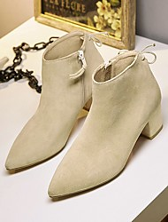 Women's Boots Spring / Fall / Winter Bootie Suede Casual Chunky Heel Zipper / Lace-up Black / Almond Others