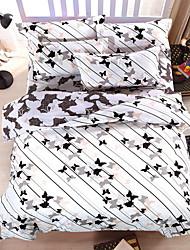 bedtoppings cachecol 4pcs duvet cover quilt definir o tamanho da rainha folha plana fronha borboleta impressões microfibra