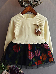 Girl's Casual/Daily Patchwork Dress / Sweater & CardiganCotton / Polyester Winter / Spring / Fall Pink / Beige