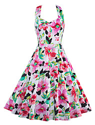 Women's Casual/Daily Vintage A Line Dress,Floral Halter Knee-length Sleeveless Cotton Polyester Spandex Summer Mid Rise Inelastic Thin