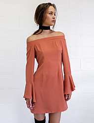 Women's Going out / Casual/Daily Simple / Street chic Sheath DressSolid Boat Neck Above Knee Long Sleeve Orange